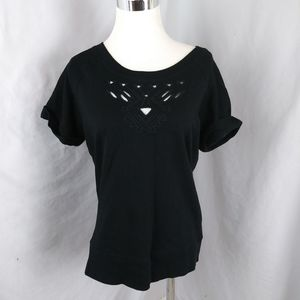 Converse western embroidered cutout T shirt top